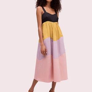 Kate Spade Scalloped Color Blocked Midi Dress NWOT